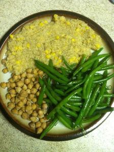 Quinoa with corn, garbanzo beans and green beans.