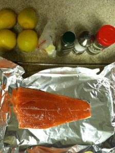 I try and eat salmon once a week or so. This is a recipe from my sister Daisy. I marinade the salmon in lemon juice for 20 min. Then sprinkle it with dry dill, salt, pepper and butter. Then broil it for 15-20 min on 500.